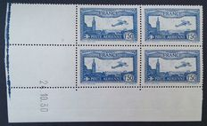 France 1930 - 1.50 F Airmail bright ultramarine in block of 4 with dated corner. Signed Roumet with certificate - Yvert no. 6b.