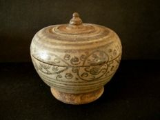Siam (Thailand). Swankalok. Ceramic Pot with a Lid Height - 8 cm