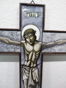 Crucifix with stained opaline glass 45 cm high - Netherlands - 1960