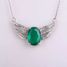 The wings of an angel-White gold necklace with 2.15 ct emerald and diamonds