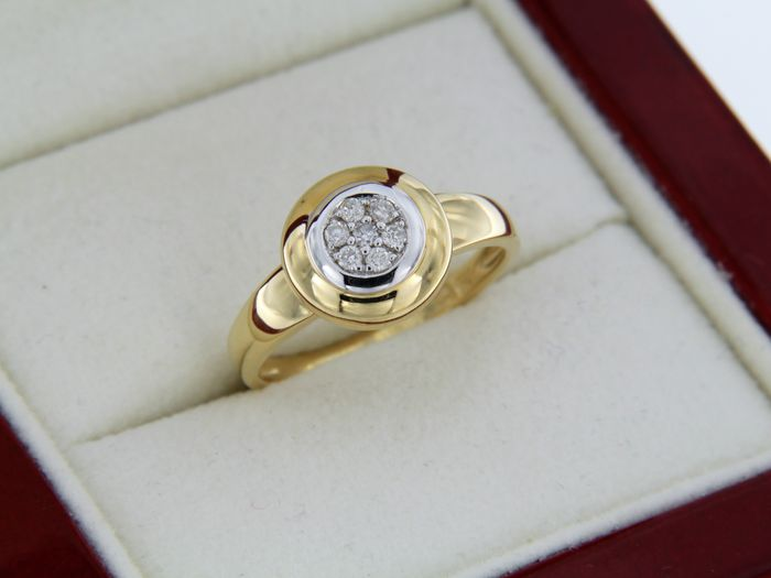 Two-tone 18 kt gold ring with diamonds - 54 (EU)