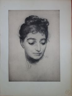 Félix BRACQUEMOND - L'Estampe moderne / modern engraving: Young woman with pulled back hair