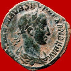 Roman empire - Severus Alexander (222-235 A.D.), bronze sestertius (14,98 g. 30 mm), minted in Rome, 8th emission, AD 228. PM TRP VII COS II PP, Mars with spear and holding.