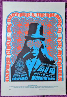 Rare psychedelic Moscoso Janis Joplin  Avalon Poster San Francisco 1966