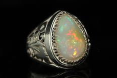 Grade 925 silver men's ring set with 5 ct opal - size 65