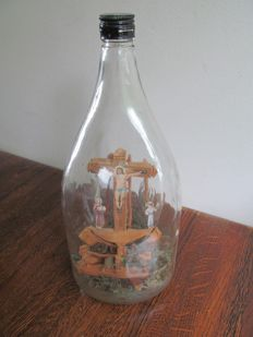 Monastery item - Calvary in glass bottle - first half of 20th century