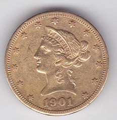 United States – 10 Dollars 1901 S 'Liberty Head Eagle' – gold