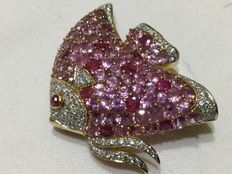 Mandrino – fish brooch in gold with diamonds, pink sapphires, rubies – 3.3 x 2.1 cm