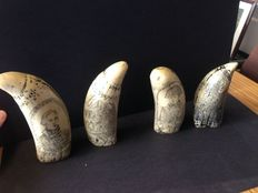 Decorated sperm whale teeth - polystone - second half of the 20th century