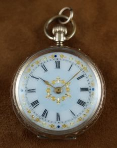 Pocket Women's Watch - Flover Dial Pink Gold -  1910's