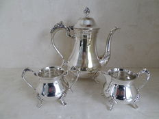 Silver plated coffee set with openwork style. Dutch 1842.