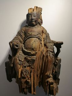 Wooden statue - China - 19th century