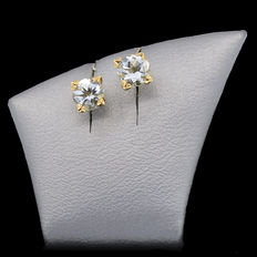 14 kt (585) yellow gold earrings with aquamarine weighing 0.84 ct