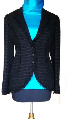 Chanel - Black ribbon tweed jacket.