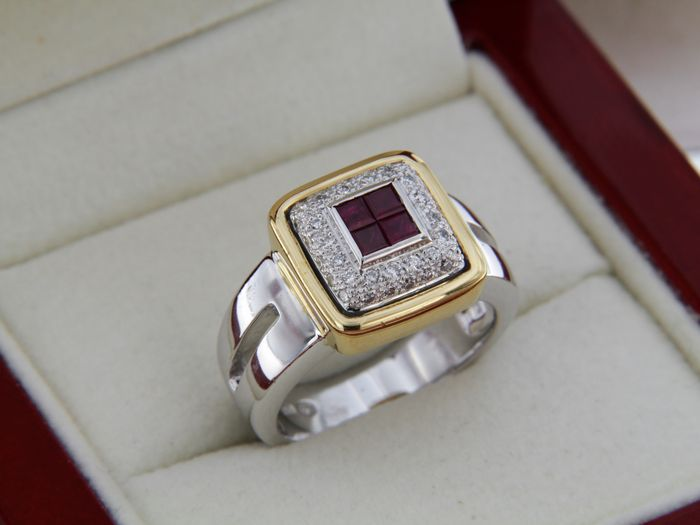Two-colour Gold Ring, Rubies and Diamonds, Size: 55