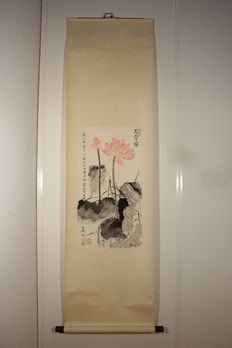 Vintage watercolour scroll painting with lotus flowers and calligraphy - China - 2nd half 20th century