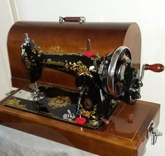 Beautiful Lewenstein sewing machine with nostalgic decoration, Netherlands, 1960s