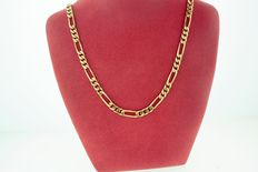 Fancy 14kt gold figaro chain in yellow gold- 18 inches long