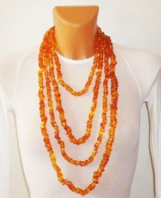 long Baltic amber necklace, length: 300 cm