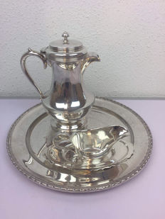 Silver plated set of water jug; dish and jug on dish (4 pieces total)