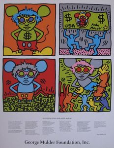 Keith Haring (after) - Keith and Andy and Andy Mouse