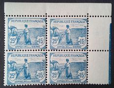 France 1917-18 - Orphelins 25 c. + 15 c. blue, block of 4, signed Calves with numbered certificate - Yvert no. 151.