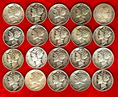 United States – One dime Mercury, set with 20 coins, 1907-1945. Silver (20)
