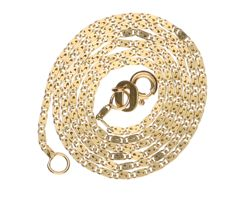 14 kt yellow gold curb fantasy link necklace – length:  40 cm