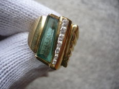 18 kt gold ring with tourmaline and topaz, diameter: 20 mm
