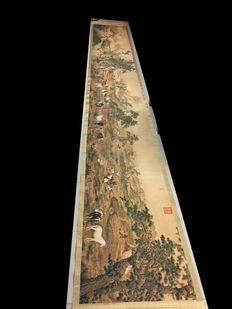 Long Scroll One Hundred Horses in a Landscape 百駿圖 - China - Late 20th Century