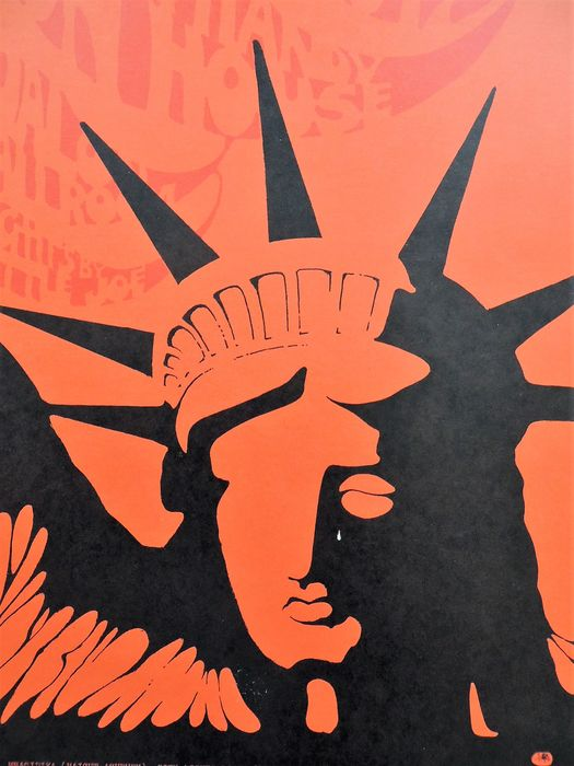 rare psychedelic statue of liberty dance concert poster san