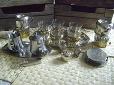 Miscellaneous silver (plated) coffee/tea - salt and pepper and sugar/milk set.