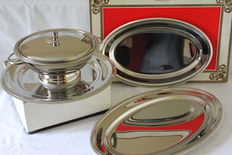 """""""Letang & Remy"""" – soup bowl and three serve trays – inox/stainless steel"""