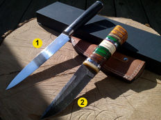 1 x Authentic Damascus knife / kitchen knife + 1 x Damascus hunting knife/outdoor/camping + 100 ml Camellia care oil
