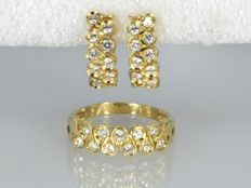 18 kt gold Ring and earrings with zirconias