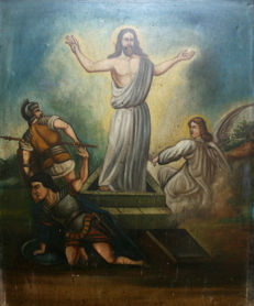 Absolute rarity, beautiful large painting - resurrection of Jesus Christ - Romans and Angel - 19th century, 110 x 91 cm