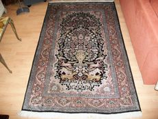 Hand-knotted (Ghom, Keshmir) carpet from India, 190 x 120, silk
