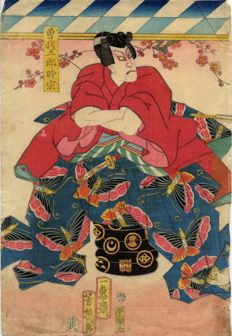Original print by Utagawa Yoshiku (1833–1904) – The actor Ichikawa Danjuro in the role of Soga no Goro Tokimune – Japan – 1870s