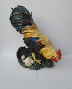 Beautiful garden statue of a plastic rooster 61 cm high