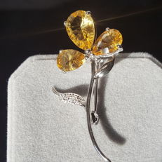 925 sterling silver citrine brooches,size: size: 41 X 13 mm