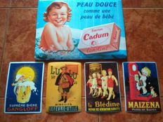 Lot of 5 beautiful embossed signs