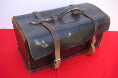 Old leather toolbox with wooden bottom