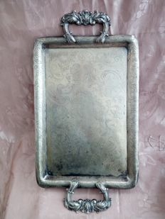 Antique Italian chiselled tray first half of 1800