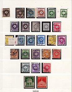 Soviet occupation zone 1945 to 1949 - advanced collection on Lindner T album pages with block 3 cancelled/used