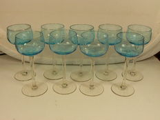 Bohemia - Nine finely cut crystal wine glasses, late 20th century