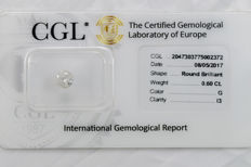 0.60 ct brilliant cut diamond  G  I3   ** Low Reserve **