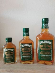"Jack Daniels Green Label Set 100ml , 200ml and 375ml old Version, ""Heritage"" Bottle"