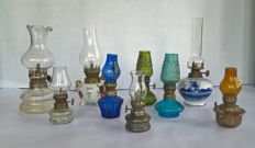 Large lot of 9 smaller oil lamps-all in very good condition-incl. Delft blue and ornamental pewter models