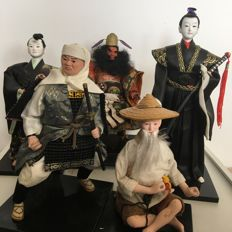 Sculpture group of Samurai warriors, evil spirits and wise man - Japan - 2nd half of 20th century