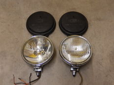 A Pair of Chrome 1970's Lucas Matching FT6 and LR6 One Spot light and One Fog light in Very good Used Vintage Condition